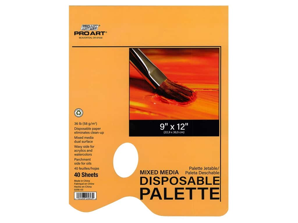 Pro Art Mixed Media Disposable Palette Pad - 9 x 12 in. 40 pc.