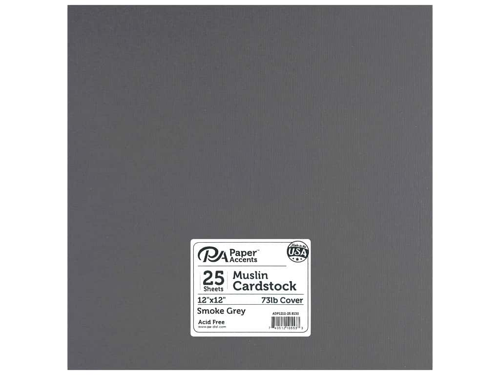 Paper Accents Cardstock 12 x 12 in. Muslin Smoke Gray 25 pc.