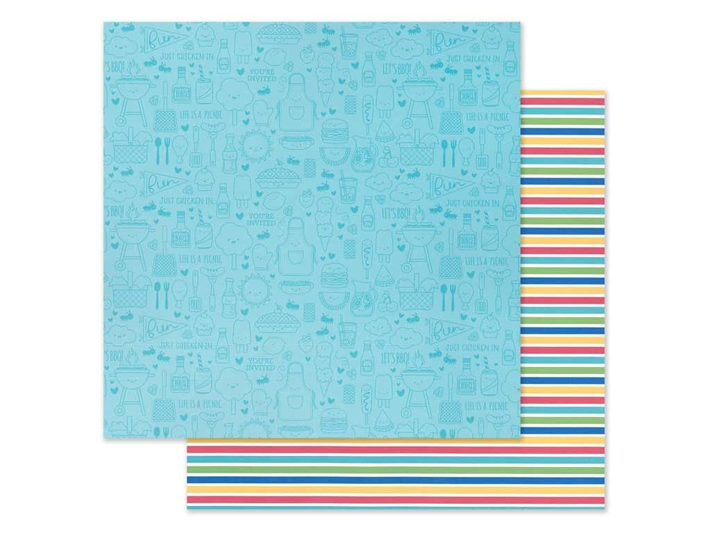 "Doodlebug Collection Bar-B Cute Paper 12""x 12"" Sno Cone Stripe (25 pieces)"
