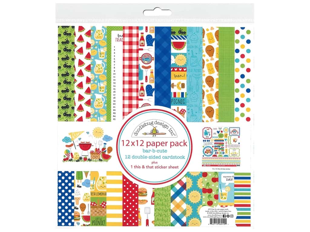 """Doodlebug Collection Bar-B Cute Paper Pack 12""""x 12"""""""