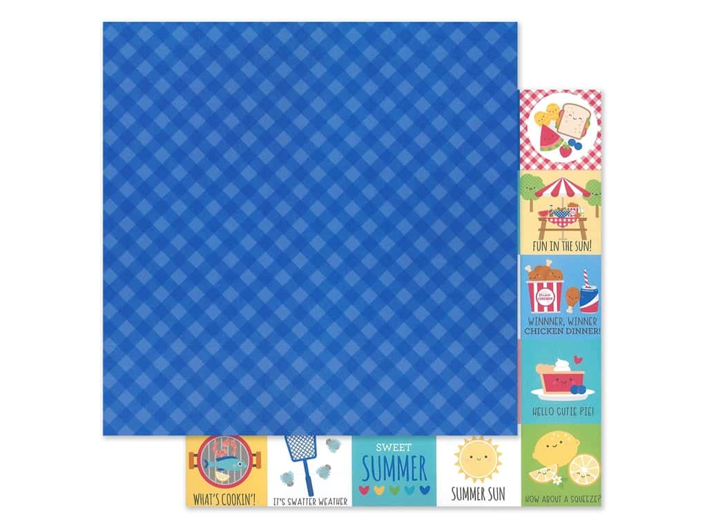"""Doodlebug Collection Bar-B Cute Paper 12""""x 12"""" Blueberry Plaid (25 pieces)"""