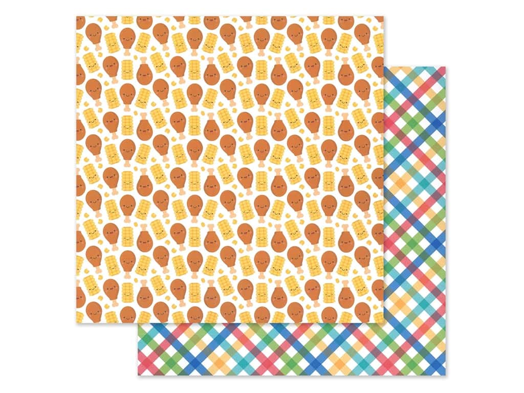 """Doodlebug Collection Bar-B Cute Paper 12""""x 12"""" Primary Plaid (25 pieces)"""