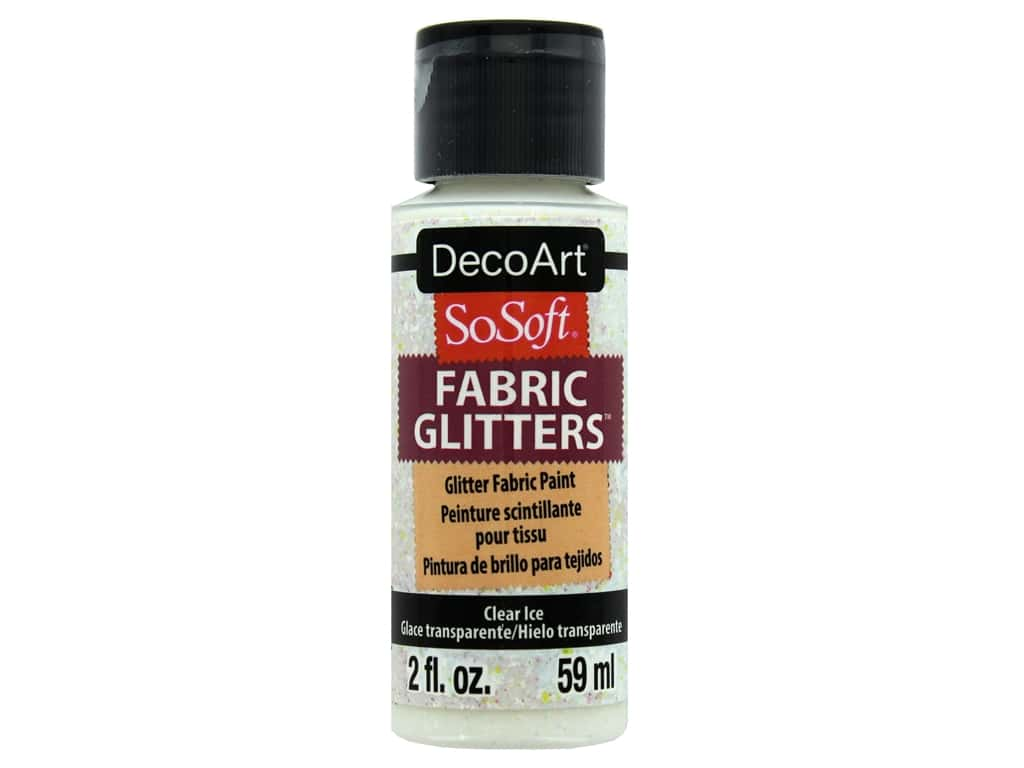 DecoArt SoSoft Fabric Paint 2oz Glitter Clear Ice