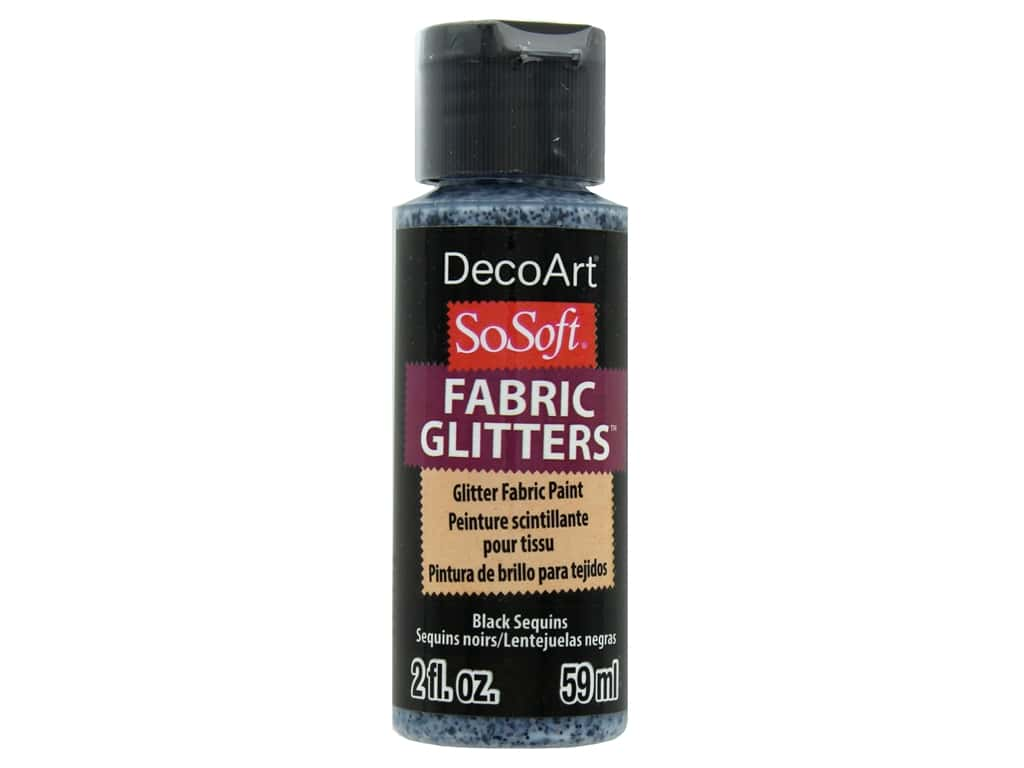 DecoArt SoSoft Fabric Paint 2oz Glitter Black Sequins