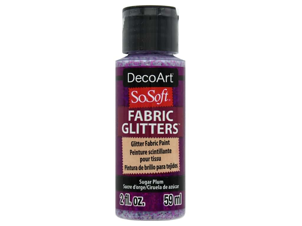 DecoArt SoSoft Fabric Paint 2oz Glitter Sugar Plum