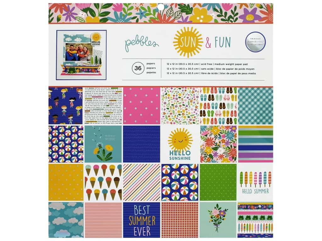 "Pebbles Paper Pad Sun Fun 12""x 12"" (3 sheets)"