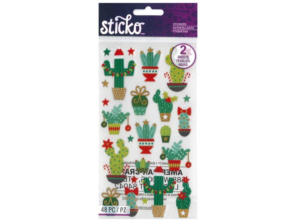 Sticko Stickers - Holiday Cacti Gold Foil