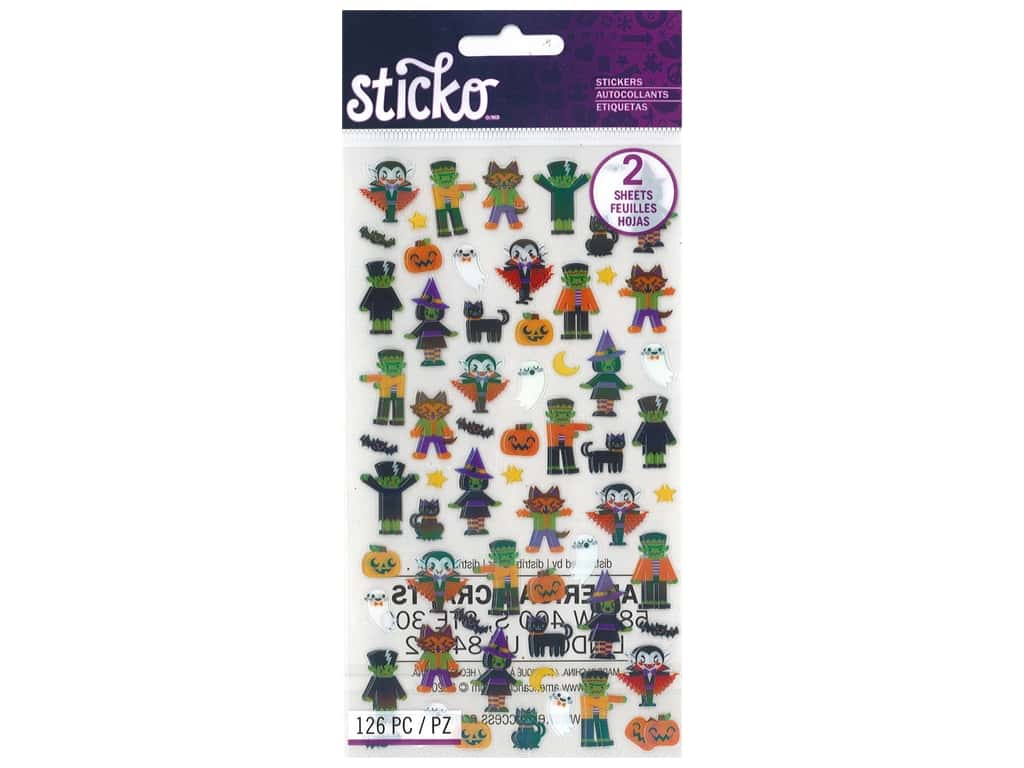Sticko Stickers - Halloween Characters Tiny Iridescent Foil