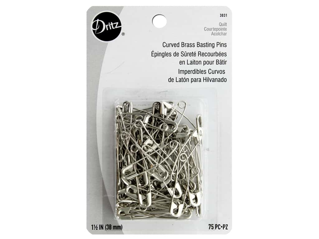 Dritz Curved Brass Basting Pins - 1 1/2 in. 75 pc.