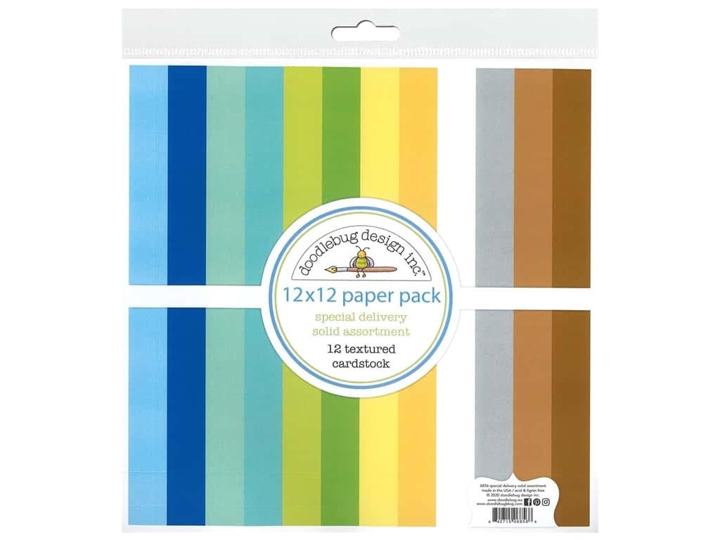 "Doodlebug Collection Special Delivery Paper Pack 12""x 12"" Solid"