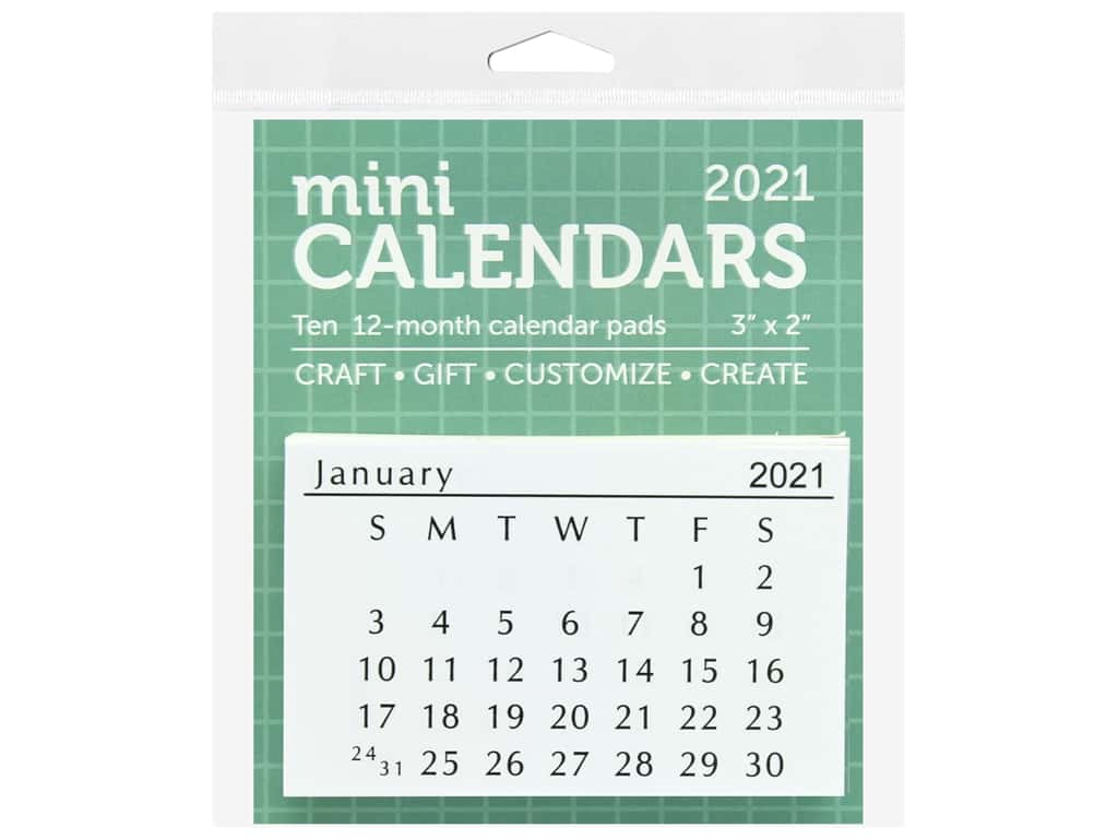 "Paper Accents Calendar Mini Tear-Off 3""x 2"" 10 Sets 2021"