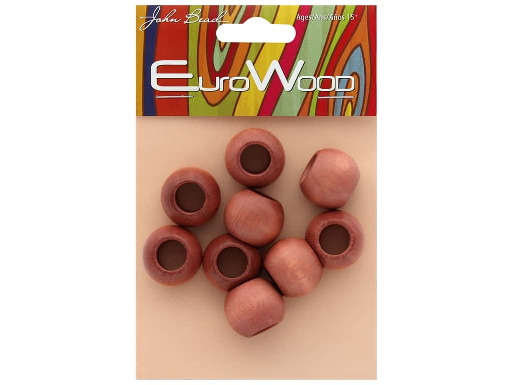 John Bead Wood Bead Euro Wood Round Large Hole 20 x 16 mm Light Brown