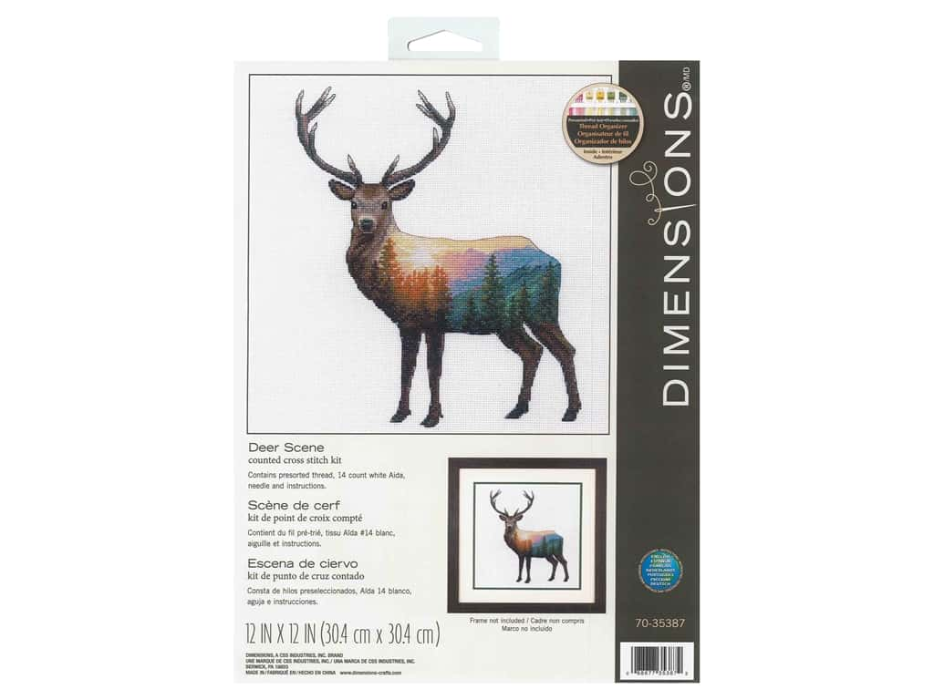 "Dimensions Cross Stitch Kit 12""x 12"" Deer Scene"