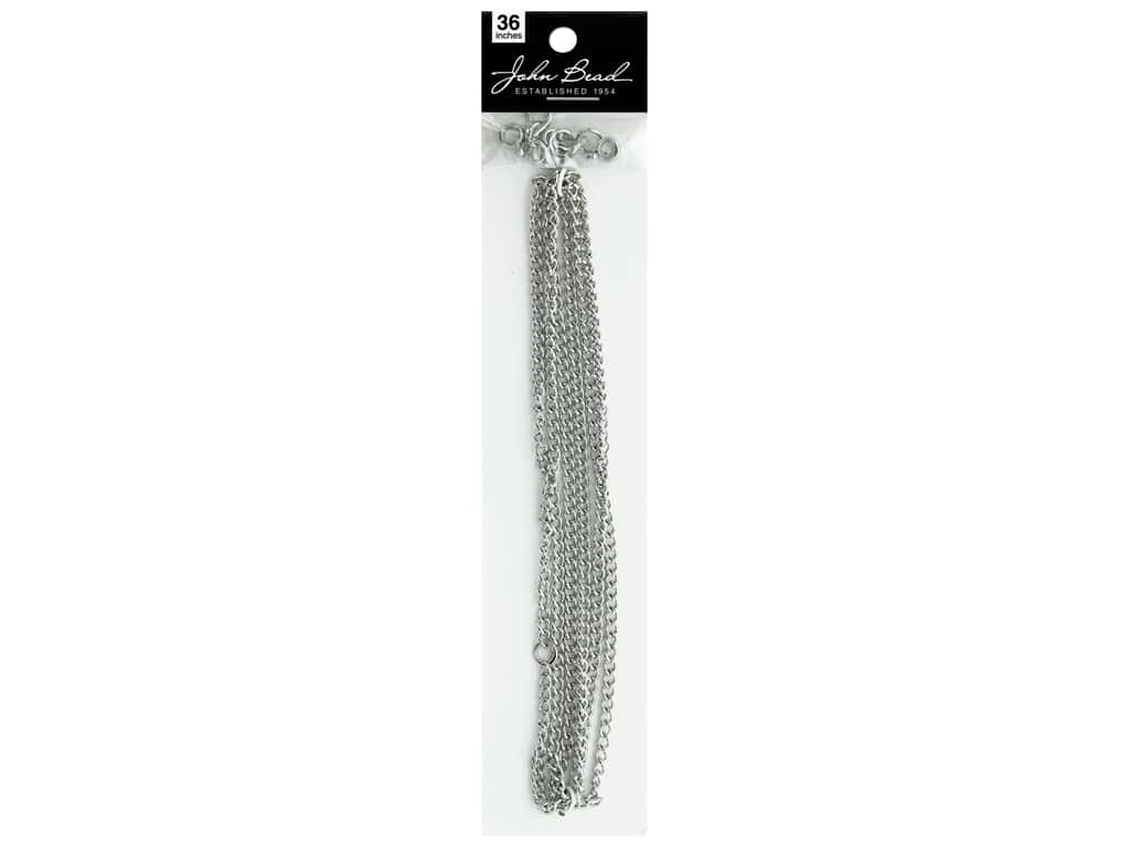 John Bead Chain & Finding Set 3mm x 4mm Curb Nickel