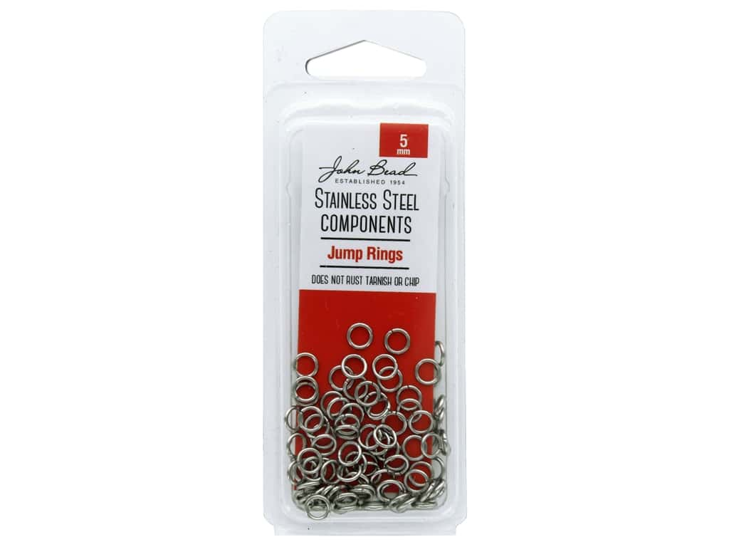 John Bead Stainless Steel Jump Ring 5mm 100pc