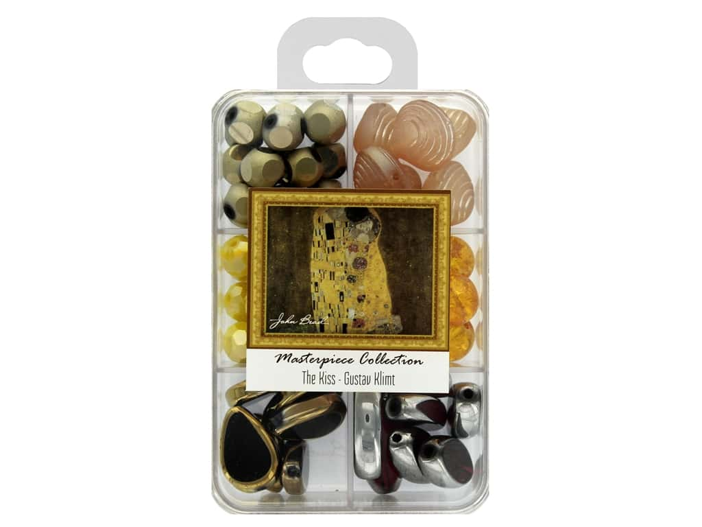 John Bead Glass Bead Masterpiece Collection Box Mix The Kiss - Gustav Klimt