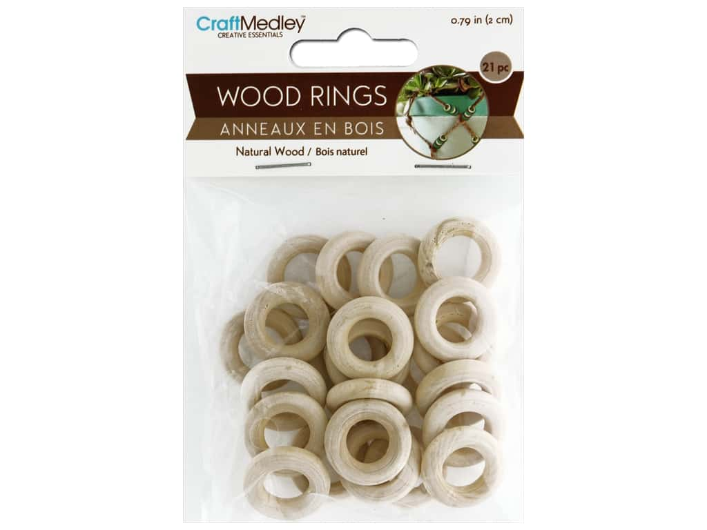 Multicraft Wood Craft Ring 20mm 21pc