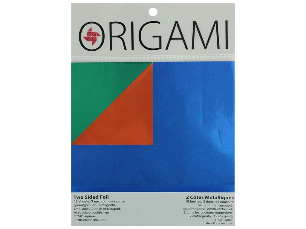 """Yasutomo Origami Paper 5.88"""" Two Sided Foil Assorted 18pc"""