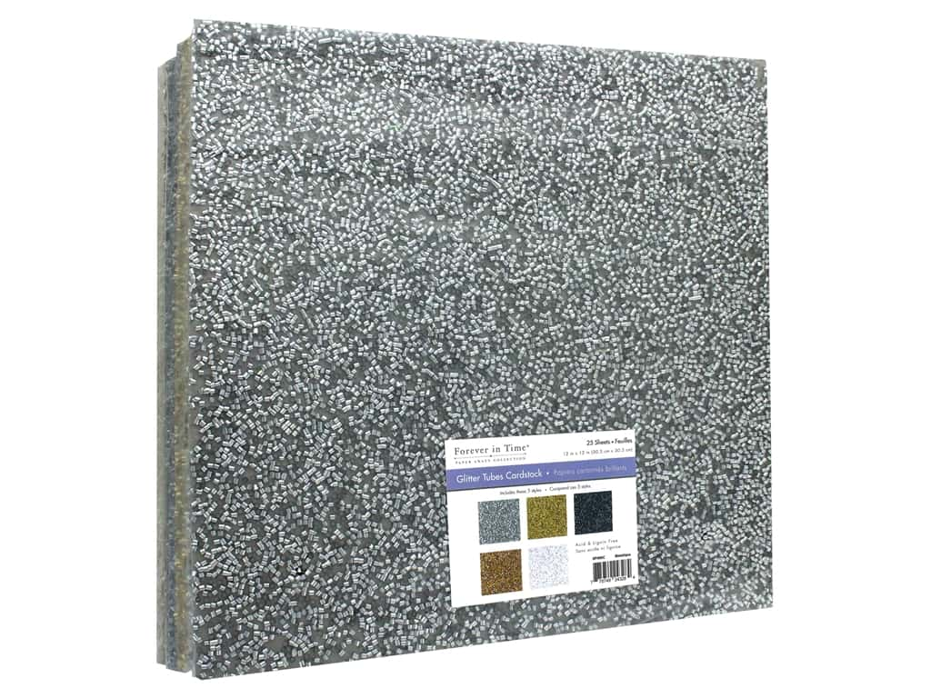"""Multicraft Forever In Time Paper 12""""x 12"""" Glitter Tube Assorted Metallique (25 pieces)"""