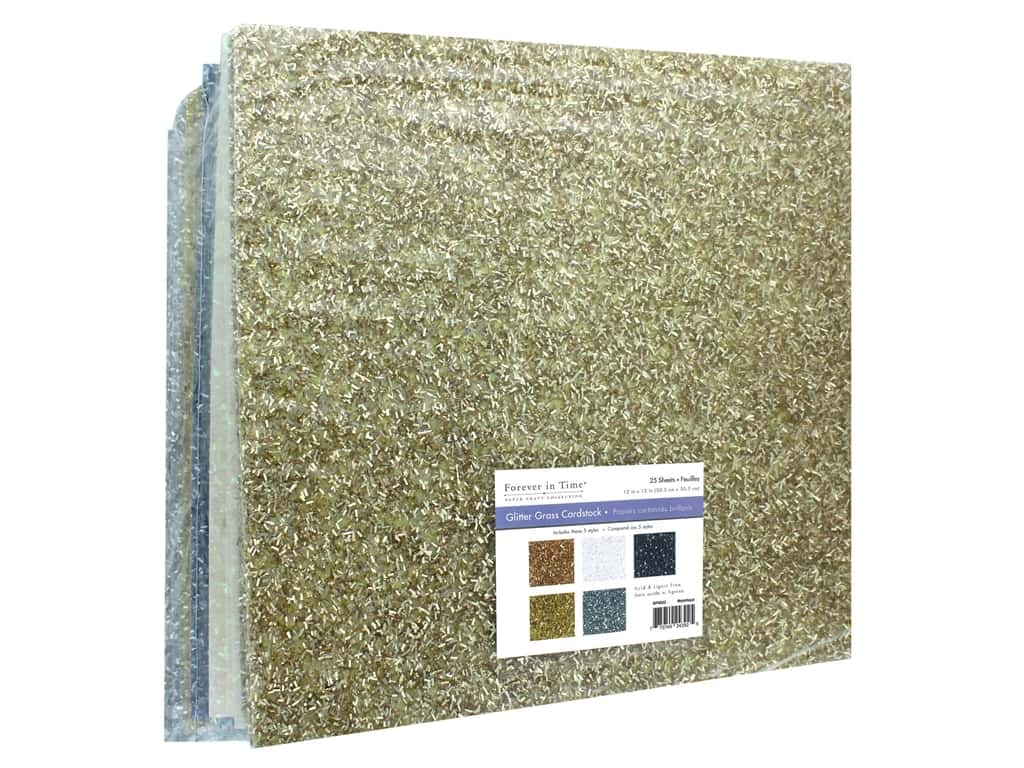 """Multicraft Forever In Time Paper 12""""x 12"""" Glitter Grass Assorted Metallique (25 pieces)"""