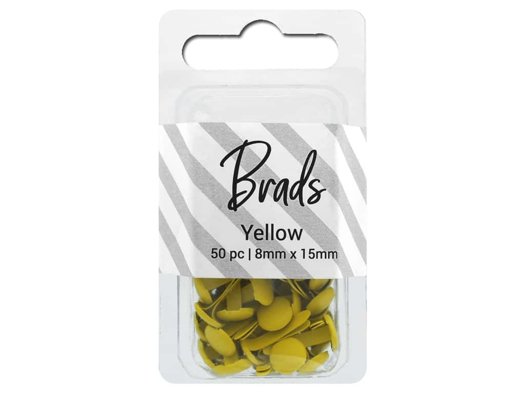 PA Essentials Brads 8 x 15mm 50 pc. Solid Yellow