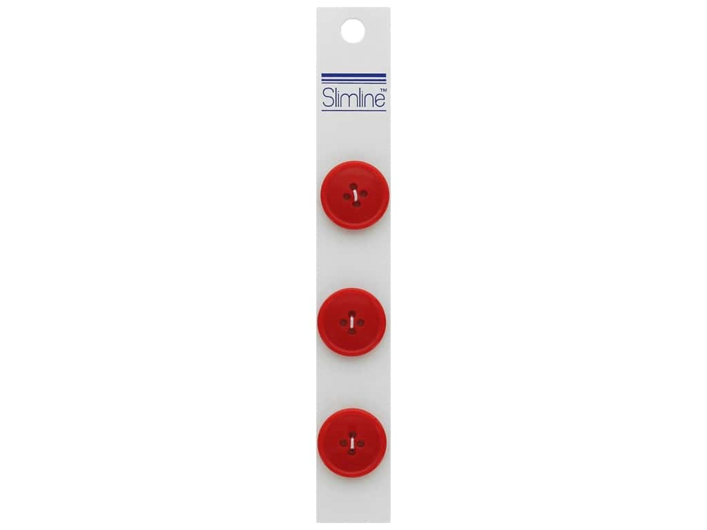 Slimline 4 Hole Buttons 3/4 in. Red 3 pc.