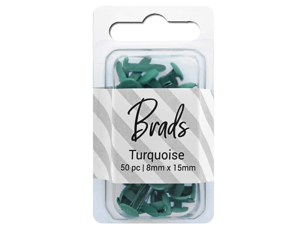 PA Essentials Brads 8 x 15mm 50 pc. Solid Turquoise