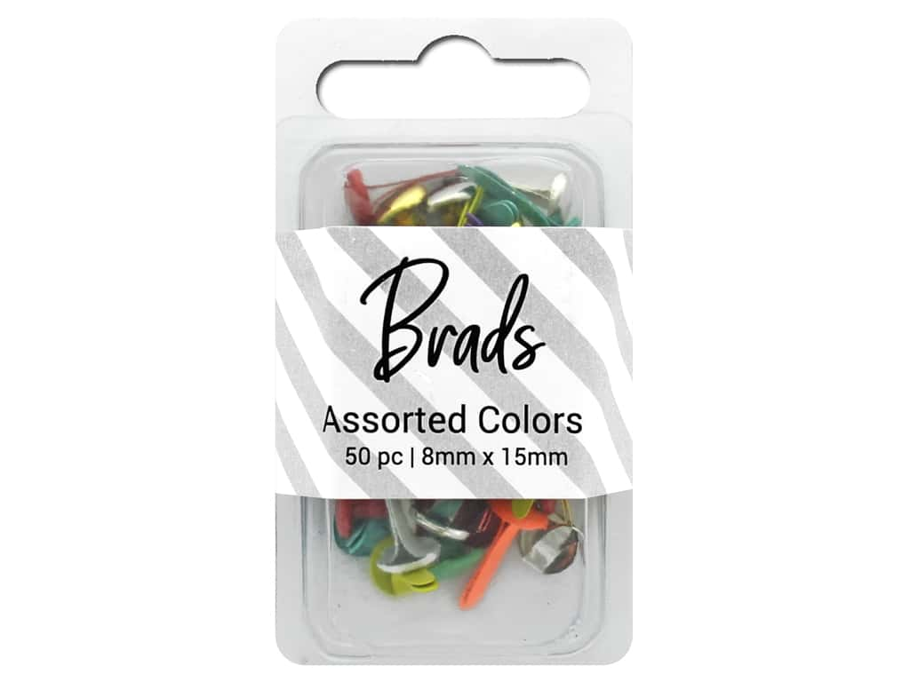 PA Essentials Brads 8 x 15mm 50 pc. Assorted Colors