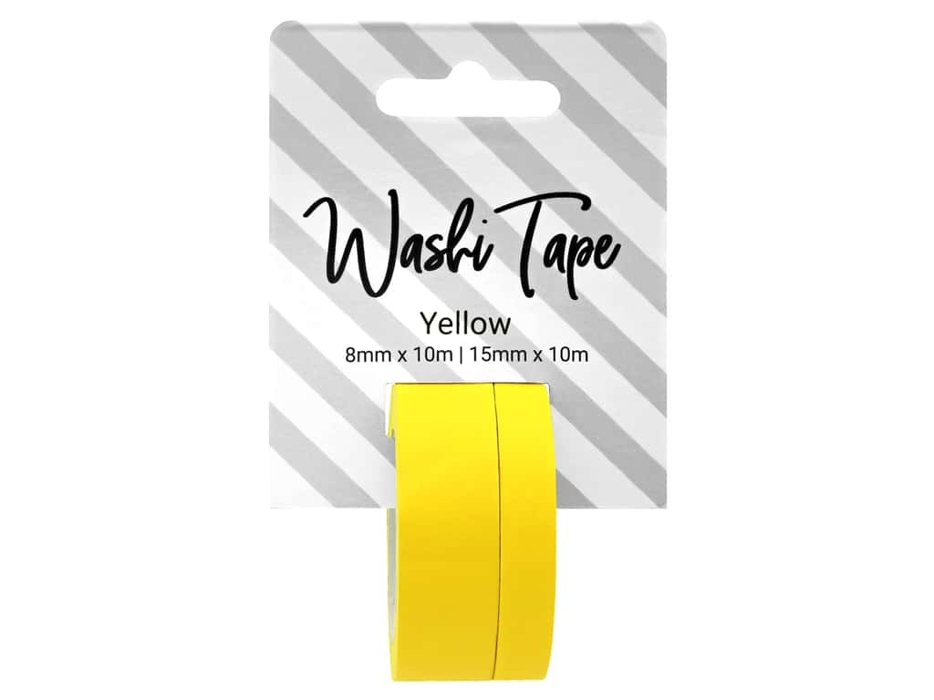 PA Essentials Washi Tape 8 mm & 15 mm x 10 m Solid Yellow