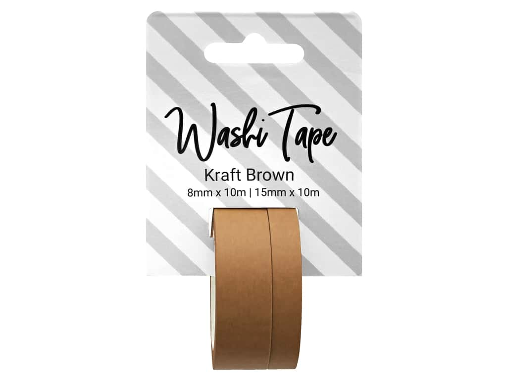 PA Essentials Washi Tape 8 mm & 15 mm x 10 m Solid Kraft Brown