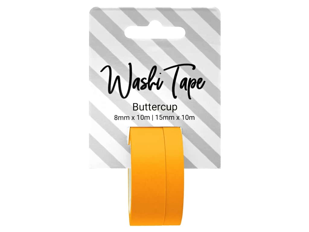 PA Essentials Washi Tape 8 mm & 15 mm x 10 m Solid Buttercup