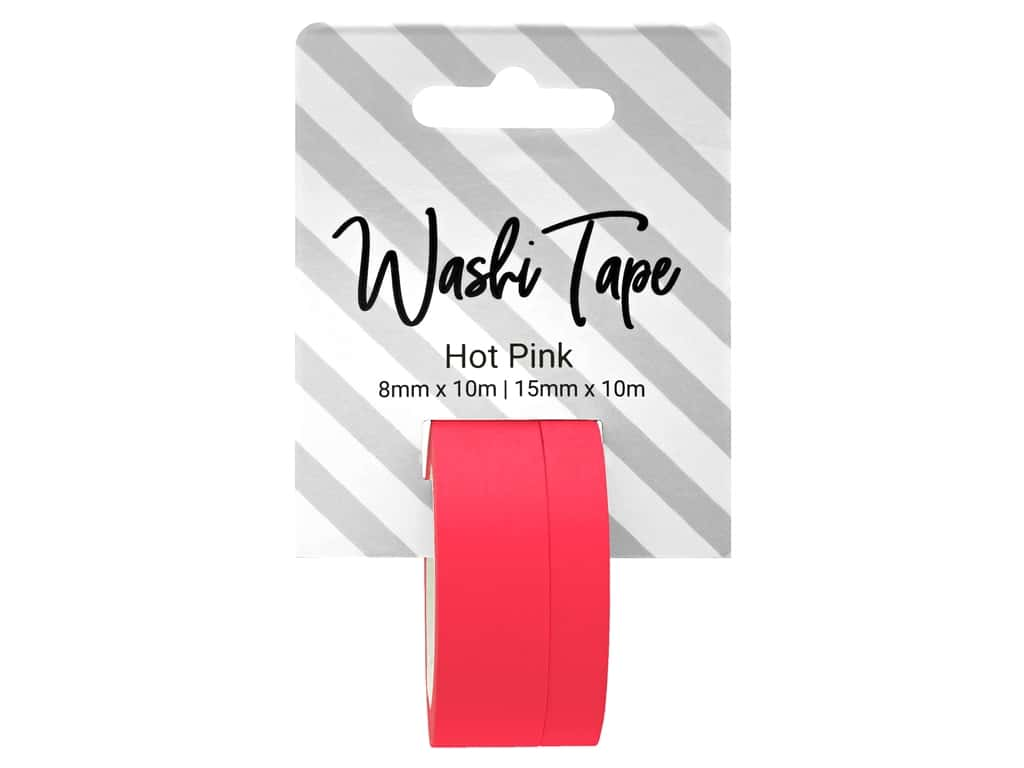 PA Essentials Washi Tape 8 mm & 15 mm x 10 m Solid Hot Pink