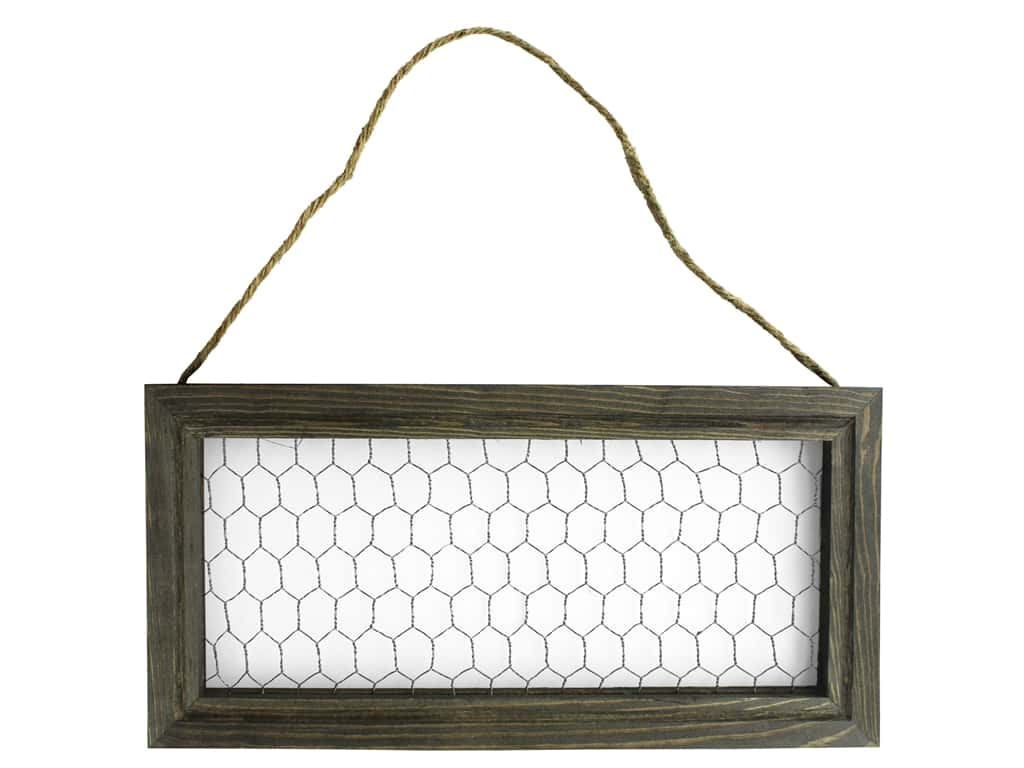 """Sierra Pacific Crafts Wood Wall Art Frame With Hanger 12""""x 6""""x .5"""" Chicken Wire"""