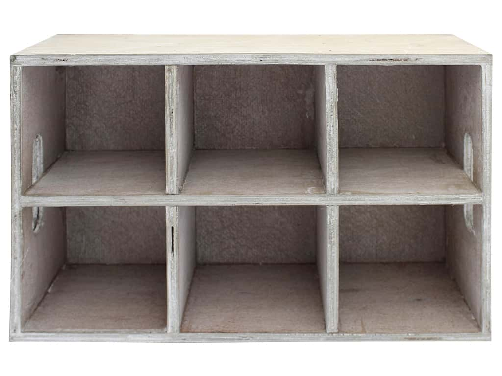 """Sierra Pacific Crafts Wood Tray With 6 Dividers 12.63""""x 3.5""""x 8.25"""" Whitewash"""