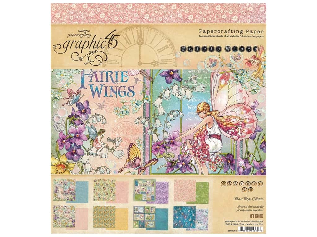 """Graphic 45 Collection Fairie Wings Paper Pad 8""""x 8"""""""