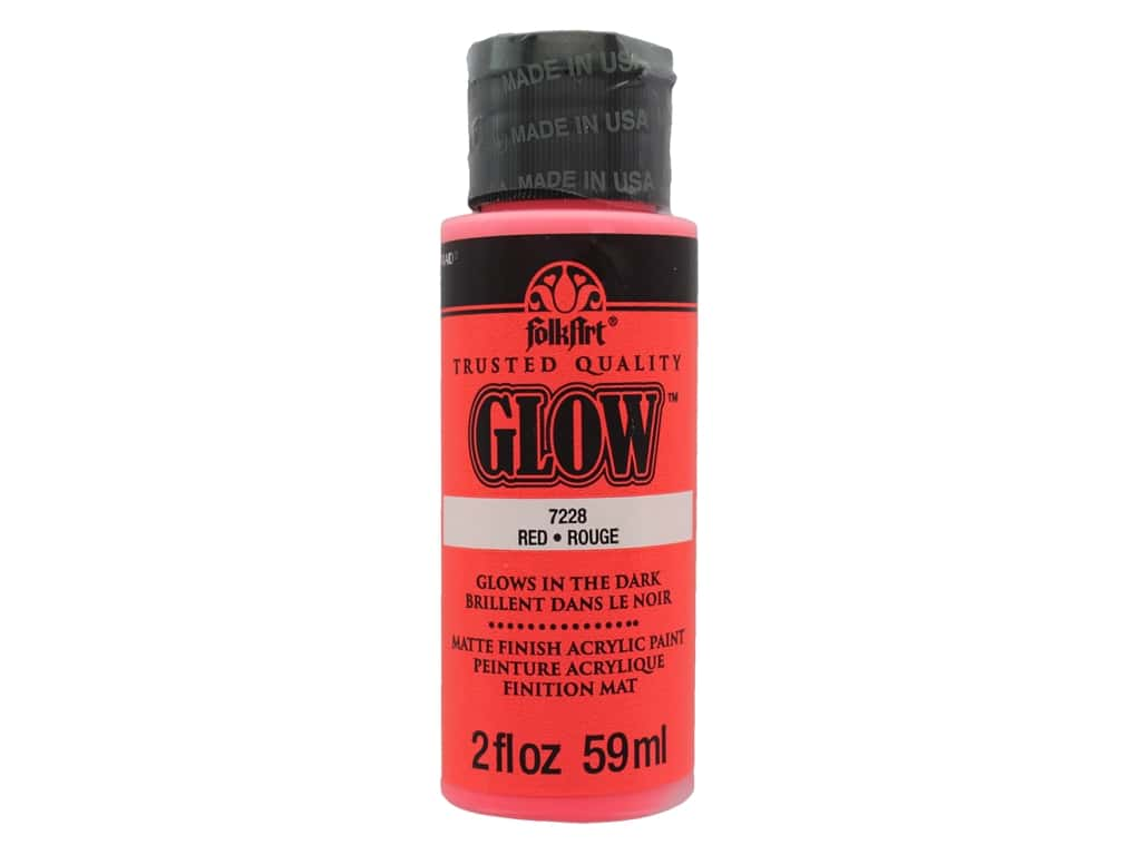 Plaid FolkArt Acrylic Paint 2oz Glow in Dark Red