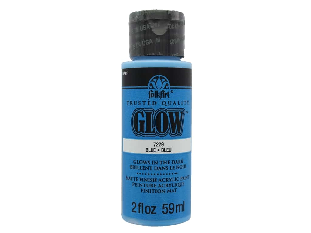 Plaid FolkArt Acrylic Paint 2oz Glow in Dark Blue