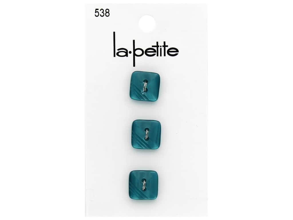 LaPetite 2 Hole Buttons 9/16 in. Turquoise Square 3 pc.