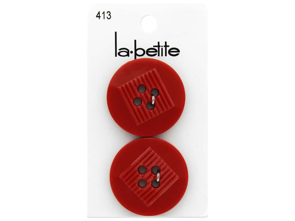 LaPetite 4 Hole Buttons 1 1/4 in. Red #413 2 pc.