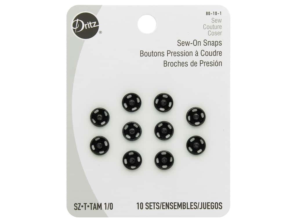 Dritz Sew-On Snaps Size 1/0 Black 10 pc.