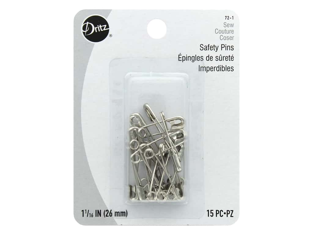 Dritz Safety Pins 1 1/16 in. Nickel 15 pc.