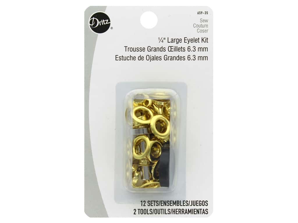 Dritz Large Eyelet Kit 1/4 in. Gilt