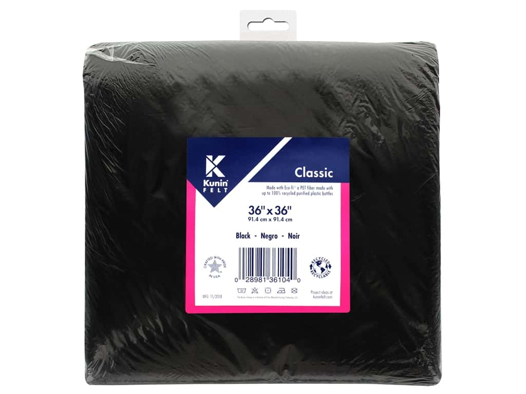"Kunin Rainbow Classic Felt 36""x 36""Black (3 pieces)"