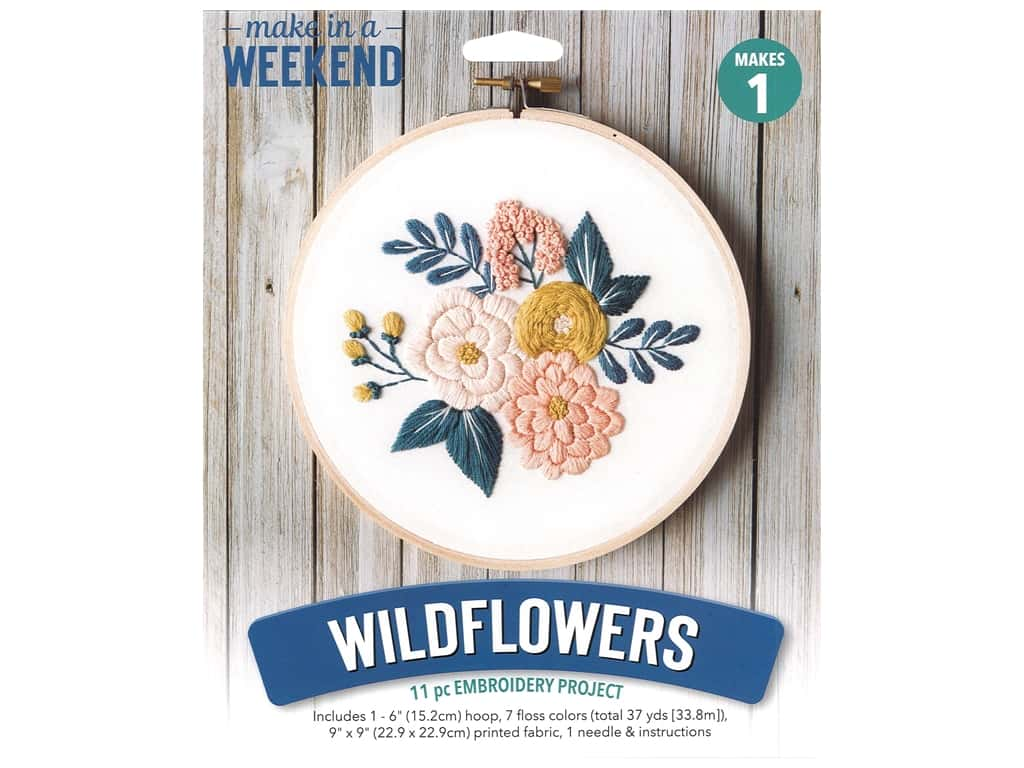 Leisure Arts Mini Maker Embroidery Project 6 in. Wildflowers