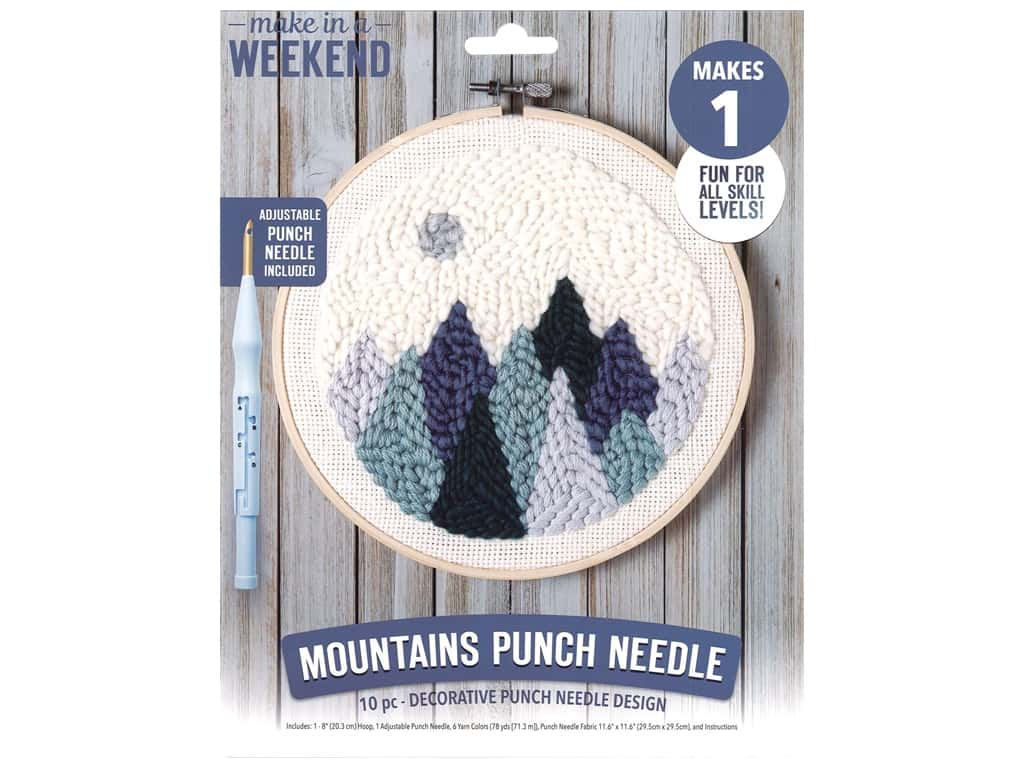"Leisure Arts Kit Make In A Weekend Punch Needle 8"" Mountains"