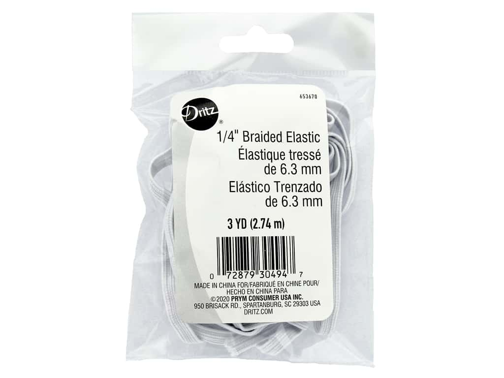"Dritz Elastic Braided .25"" White 3yd Package"