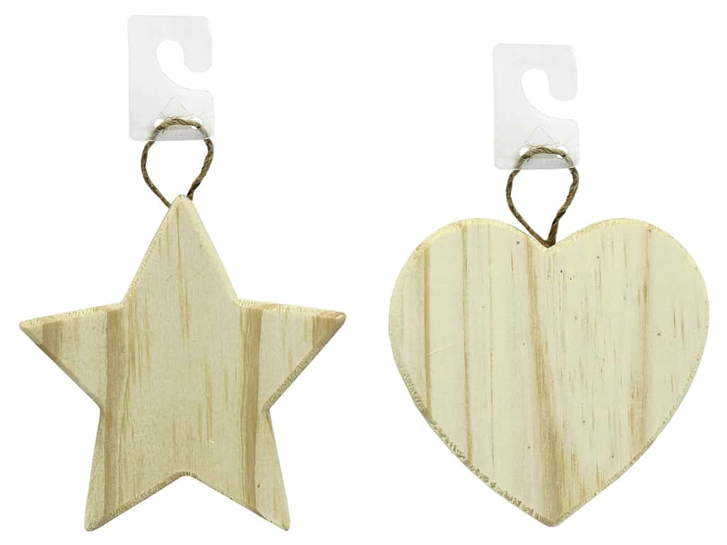 Darice Wood Unfinished Ornament Assorted Star & Heart (2 pieces)