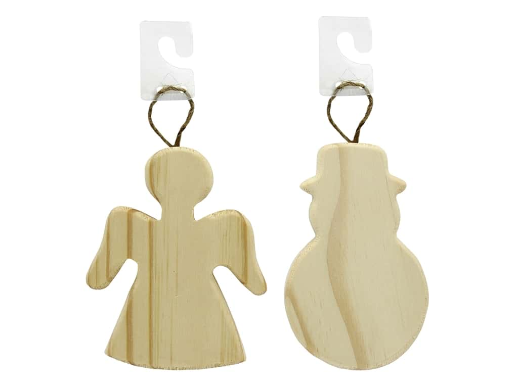 Darice Wood Unfinished Ornament Assorted Angel & Snowman (2 pieces)