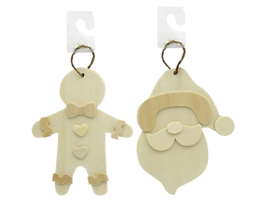 Darice Wood Unfinished Ornament Assorted Gingerbread Man & Santa (2 pieces)