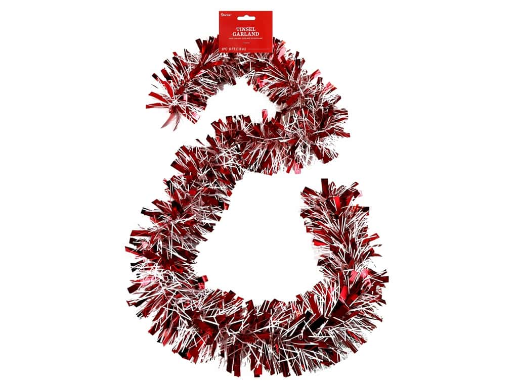 Darice Garland Tinsel 6ft Mega Red & White